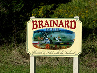 Sign commemorating former town of Brainard Iowa